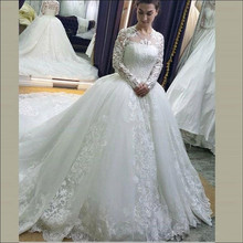 SexeMara Tulle Lace Ball Gowns Full Sleeves Bridal Gowns