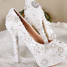Handmade White Color Wedding Dress Shoes Bridal Shoes Gorgeous Super High Heel Shoes Imitation Pearl Rhinestone Shoes