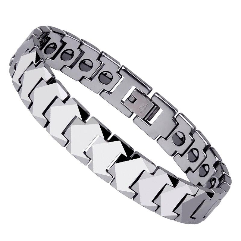 Bracelet en pierre magnétique Unique en acier au tungstène poli pour hommes bijoux de mode pour hommes pour le meilleur cadeau