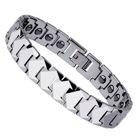Unique High Polished Tungsten Steel Energy Magnetic Stone Bracelet Men's Boys' Fashion Jewelry For Best Gift