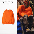 Fall 2016 student simple Sweatshirts wild solid color pattern men and women loose coat autumn orange kanye west
