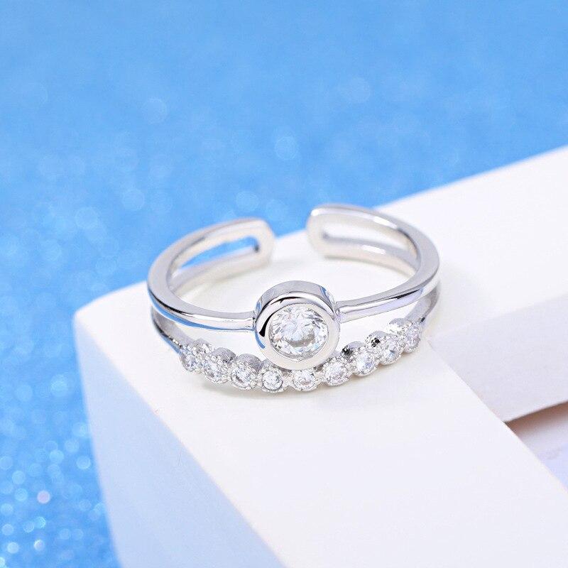 Womens Fashion Ring Zircon Crystal Ornaments Silver-plated Polishing Princess Ring 2017 New Fashion Jewelery