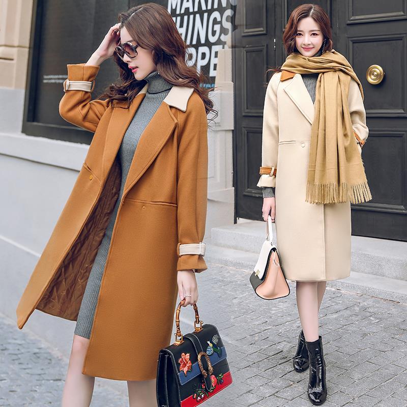 Feminino Manteau Longue Manteaux Casaco Colour Beige Femme Veste caramel Coréenne De Kj334 Femmes Vêtements Laine Ayunsue Vestes Hiver Dames f6nvdtOfqx