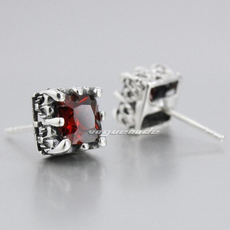 925 Sterling Silver Square Red CZ Mens Biker Rocker Stud Earring 8R001 (1 pair)