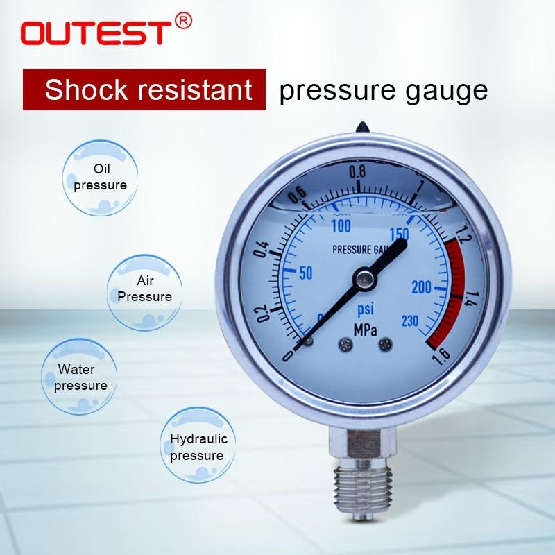OUTEST 0-60MPa Radial edelstahl manometer manometer Air öl wasser Hydraulische manometer Gewinde G 1/4