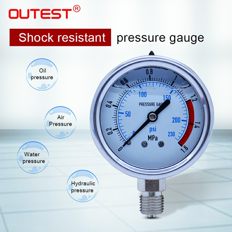 цена на OUTEST 0-60MPa Radial stainless steel manometer pressure gauge Air oil water Hydraulic Pressure gauge Thread G 1/4