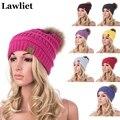 Pompones de Lana de Visón Real Reccoon Fur Punto Hat Skullies Sombrero de invierno para Mujeres Niñas Sombrero femenino Casual Gorros Sombrero A404
