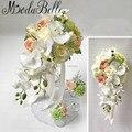 Новой Сельской Стиль Водопад Свадебные Цветы Искусственные Орхидеи Розы Брошь Свадебные Букеты Для Невест Рамос Де Novia 2017