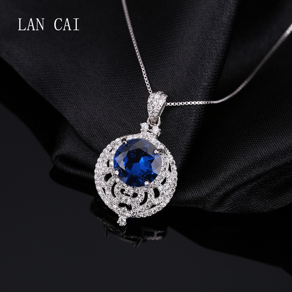 Luxury 3.8ct Big Size Sapphire Pendant 925 Sterling Silver With Tiny Zircon Pendant Fine Jewelry for Women Without Chain