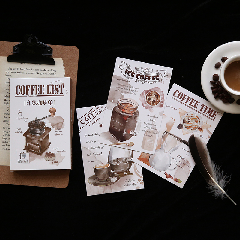30pcs/1lot Vintage Coffee List Greeting Cards Postcards Birthday Letter Business Gift Card Set Message Card