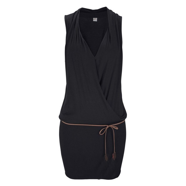 Sexy Fashion Women Summer Beach Dress Black/White Casual Sleeveless Deep V-neck Slim Solid Color Mini Dresses With Belt