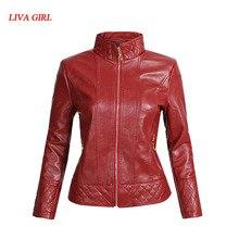 Women Leather Jacket Single Pimkie Washed PU Leather Motorcycle Jacket PIMKIE Jacket Slim Female Soft Leather Large Size S-XL