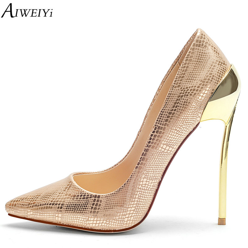 AIWEIYi Sexy Women High Heels Shoes Stiletto High Heels Women Pumps Shoes Metal Heel Gold Colors Slip On Platform Pump Shoes aiweiyi women s pumps shoes 100