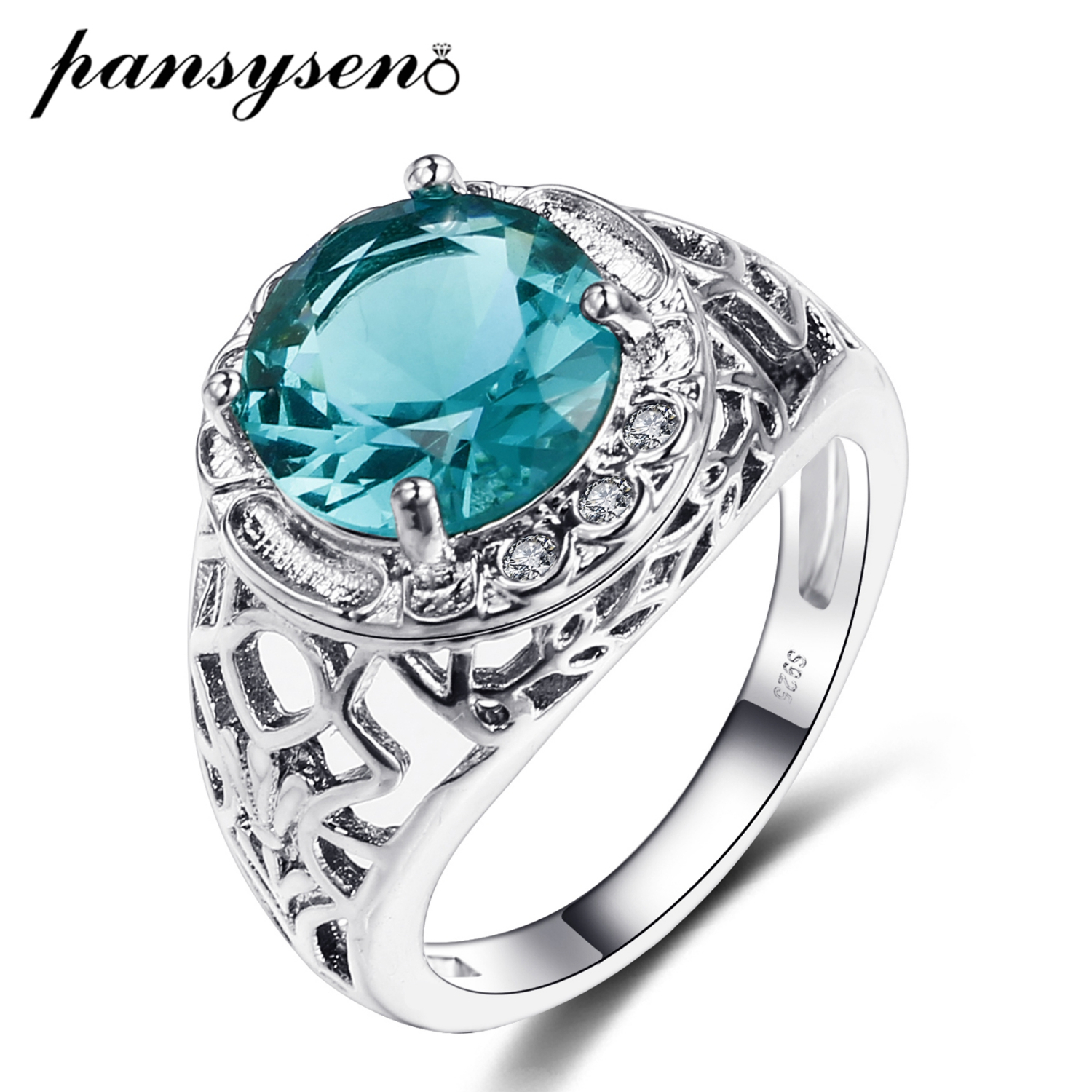 PANSYSEN Classic 100% 925 Sterling Silver Blue Green Gemstone Wedding Engagement Ring Anniversary Fine Jewelry Gift Size 6-10