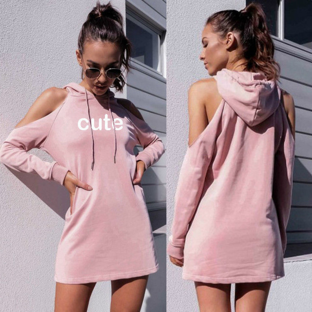 895e055f91 RongHe Hoodie Dress Off Shoulder Sexy Tracksuit Long Hoodies Full Autumn  Women Dresses Pink Letter Cute Casual Hoodie Dresses