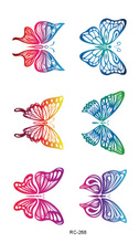 RC2268 Waterproof Tattoo Stickers Body Paint Decoration Rainbow Gradient Flying Butterfly Design Sexy Temporary Tattoo Stickers