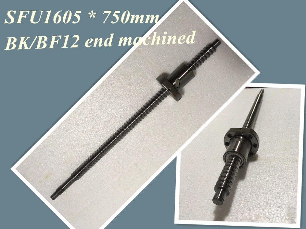 SFU1605 750mm Ball Screw Set : 1 pc ball screw RM1605 750mm+1pc SFU1605 ball nut cnc part standard end machined for BK/BF12 ball nm1038d l5j bk ball