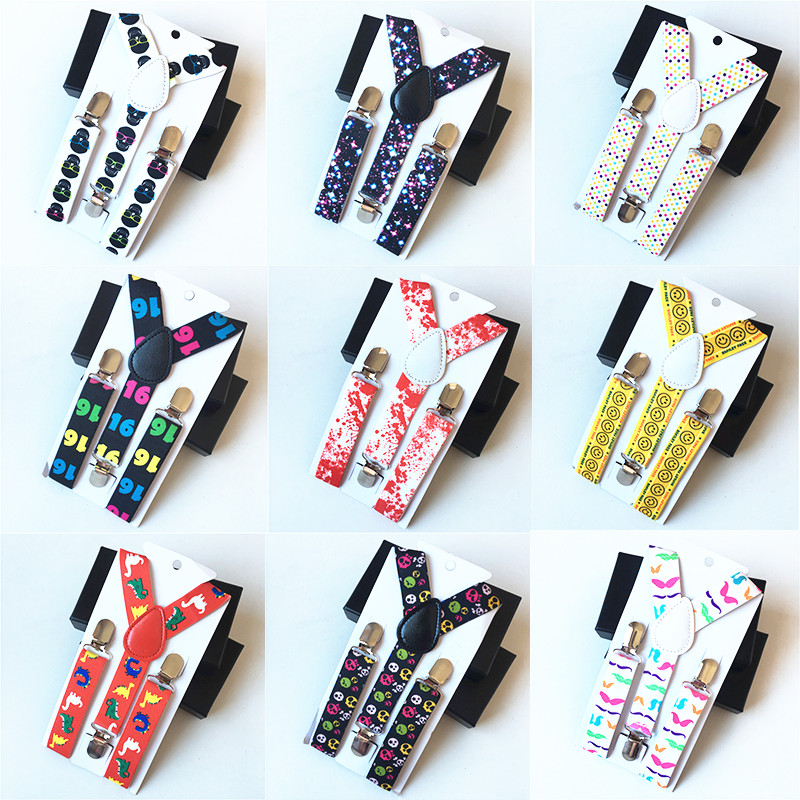 New Children's Boys Kids Suspenders Printing Cartoon Pattern Elastic Adjustable Straps Clip-on Y-Back Braces ETBD038-47