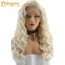 Ebingoo Hair Cap+High Temperature Fiber Natural Long Kinky Curly Platinum Blonde Synthetic Lace Front Wig with Free Part