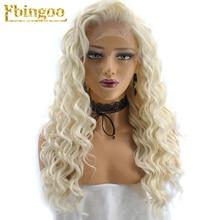 Ebingoo Hair Cap+High Temperature Fiber Natural Long Kinky Curly Platinum Blonde Synthetic Lace Fron