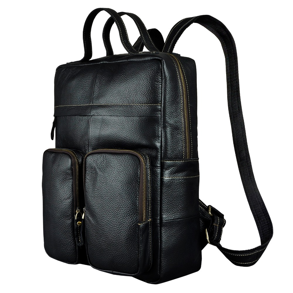 New Design Male Real cowhide Leather Casual Large Capacity Travel Bag School Bag Backpack Daypack For Men 2107b new playeagle waterpoof pu leather golf boston bag golf clothing bag large capacity travel bag with shoes pocket oem logo
