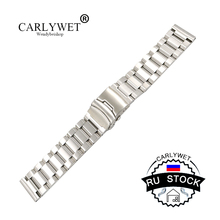 CARLYWET RU STOCK 18 20 22 24mm New Man Silver Brushed Solid Stainless Steel Bracelet Watch Band Strap Belt Double Push Clasp