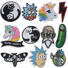 New Yin Yang Cats Horse Rick Morty Rainbow Dragon Ball Goku Patch Iron On Embroidered Clothes Patches For Clothing Stickers