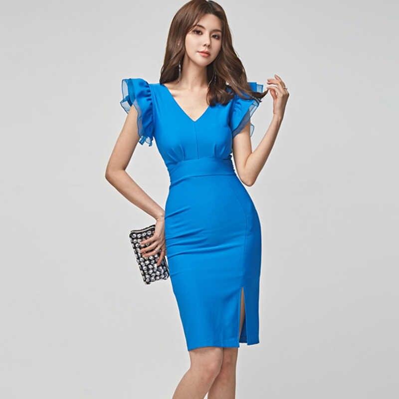 H Han queen одноцветное свободное платье карандаш платье для женщин 2019 Летние Элегантные платья с v-образным вырезом и оборками OL Талия Сплит Bodycon Vestidos