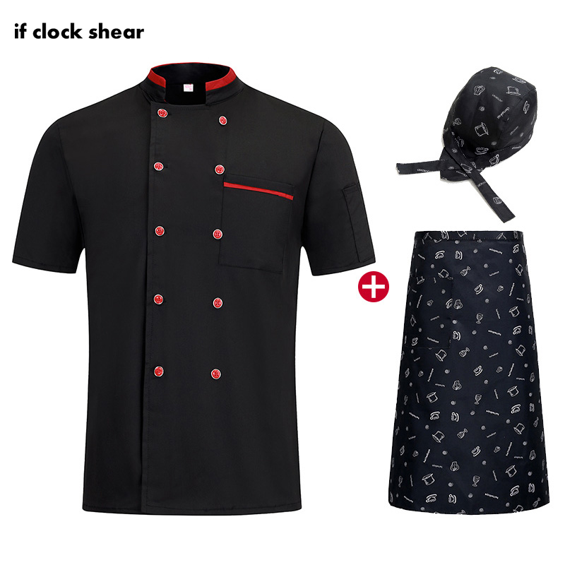 High Quality Chef Restaurant Uniforms Hotel Kitchen Breathable White Chef Jackets Work Clothes Men Chef Hat Apron Bakery Shirts