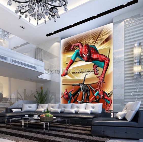 Custom children wallpaper, Spider Man cartoon murals for living room baby room dining room wall wallpaper PVC papel de parede custom children wallpaper spider man cartoon murals for living room baby room dining room wall wallpaper pvc papel de parede