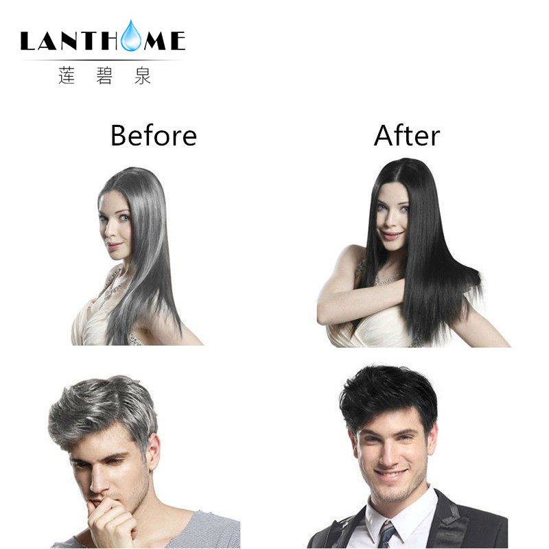 New Lanthome De xe black hair shampoo in black hair color Only 5minutes Fast Hair Dye Permanent Coloring Cream Building Fibers 4