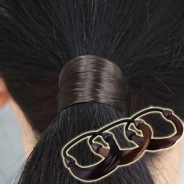 Cheap New Fashion Wild Hair Accessories Rubber Band Gum Bandage On Head Wig False Hair Rope Ring Ponytail Elastic Hair Band Gift soccer fans football colorful hair coser wig wild curl up tuba ball blast head clown hilarit party headwearing
