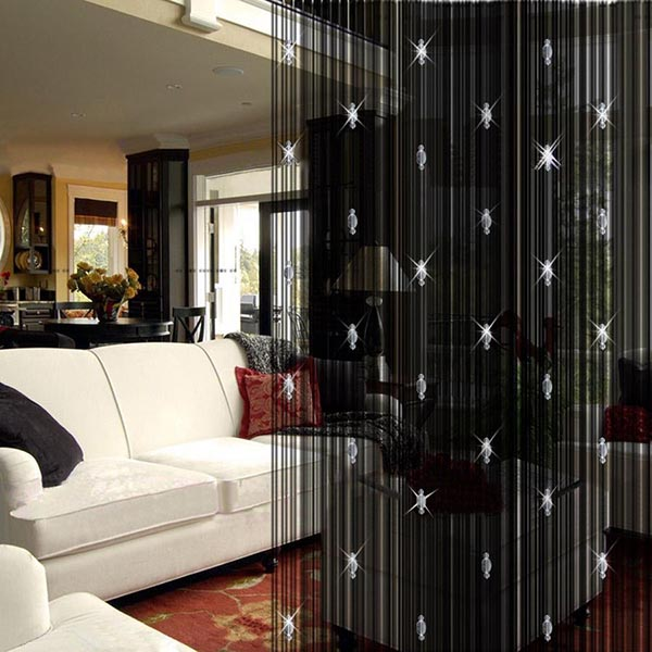 Modern Valances Living Room Door Window String Curtain With Glass Bead  White Black Coffee Drapes Decoracao