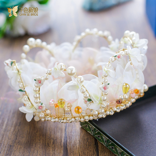 Fashion whole round silk crown pearl hair jewelry flower bride fashion whole round silk crown pearl hair jewelry flower bride headpiece prom wedding accessories girl gifts mightylinksfo