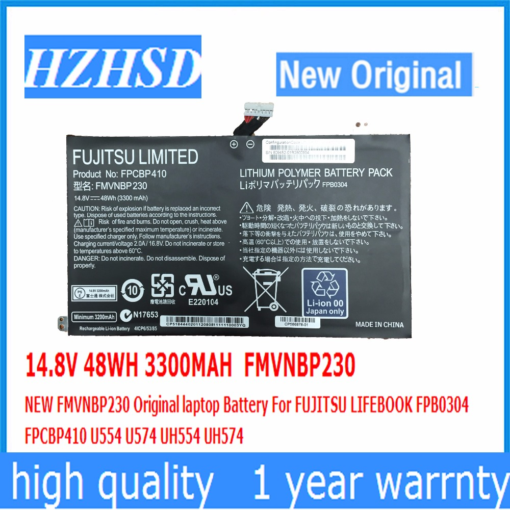 14.8V 48WH 3300MAH FMVNBP230 Original laptop Battery For FUJITSU LIFEBOOK FPB0304 FPCBP410 U554 U574 UH554 UH574 6 cell laptop battery for fujitsu lifebook a532 ah532 ah532 gfx fmvnbp213 fpcbp331 fpcbp347ap p567717 01