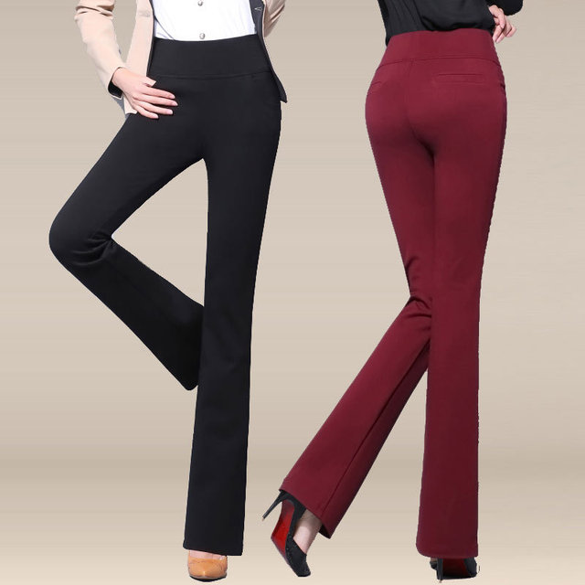 Spring and autumn in the new high-waist stretch Slim pants pants drape significant thin bell-bottoms large female length