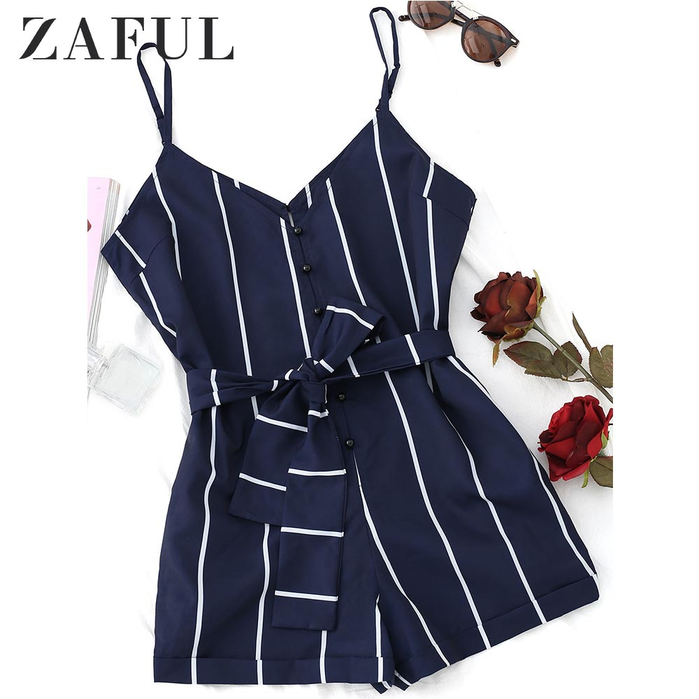 ZAFUL 2019 Striped Belted Cami Romper Women   Jumpsuit   Casual Spaghetti Strap Buttons Playsuit Outfits Beachwear Summer Overalls