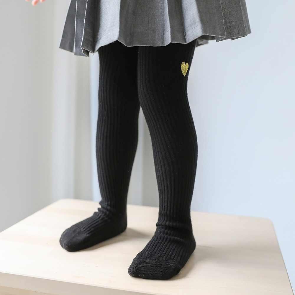 2019 (1 bộ = 2 cặp) thời trang Bé Gái Đầu Gối Vớ Cao Trẻ Em Dài chân Ấm Vớ Trẻ Em Trái Tim Vớ Vớ Cotton Màu Đen Vớ