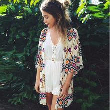 Sexy Women floral Chiffon Geometry Loose Shawl Kimono Cardigan Boho Coat Jacket Blouse Swimwe ar Beach Cover Up blouse dres s(China)
