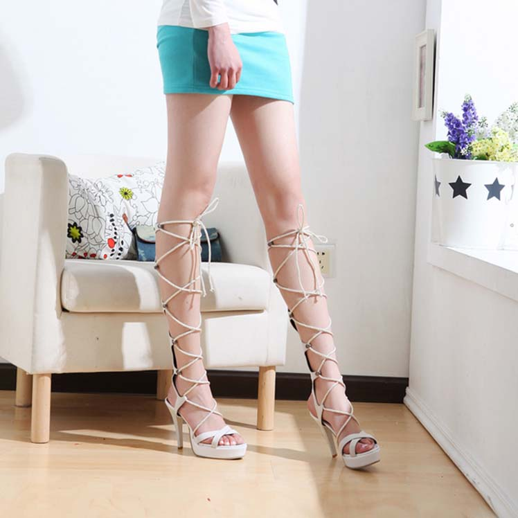 ФОТО sexy cosplay cross strap platform thin high heel women shoes  roman style novelty black red blue beige popular in the young