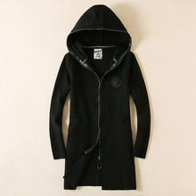 In the autumn Section male hooded sweater brief vogue tide leisure winter coat Long men's clothing in the open fork