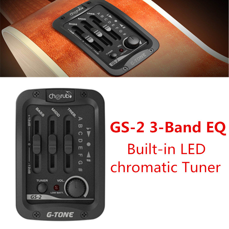 New Arrival Cherub GS-2 Acoustic Guitar 3-Band EQ and Built-in LED Chromatic Tuner Black Tuning Piezo Ceramic Pick-up Accessory cherub acoustic guitar preamp gs 3 four 4 band eq with phase and lcd chromatic tuner acoustic guitar pickup guitar pick holder