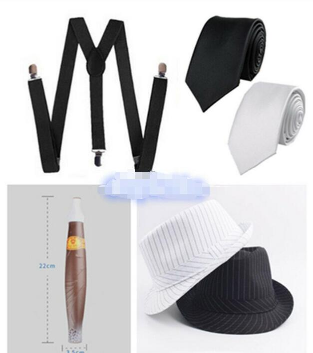 Details about  Mens 1920s 20s Gangster Set Hat Braces Tie Cigar Gatsby Kit Costume Accessories -