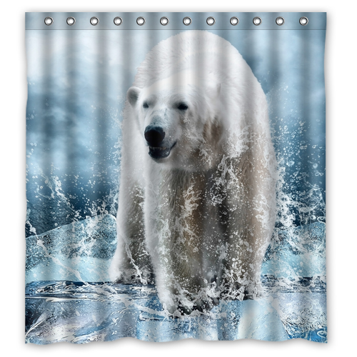 Polar Bear On The Ice Custom Create Design Waterproof Shower Curtain Bathroom Products Curtains Size 48x7260x7266x72 Inches
