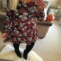 Woweile Reparto Estupendo de Las Señoras de Las Mujeres Del Cráneo de Halloween Rose Imprimir Swing Mini Vestido Vestido de Fiesta de Manga Larga