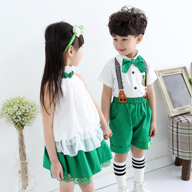 b249884ff High quality children dress overalls shirts set conjoined twins ...