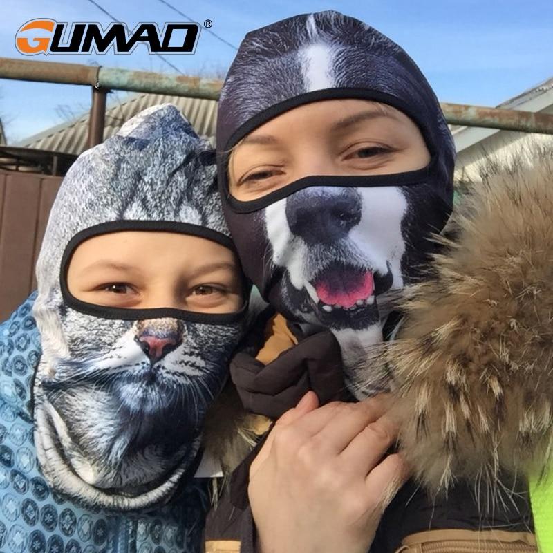 3d Cute Cat Dog Balaclava Full Face Mask Warm Helmet Liner Ski