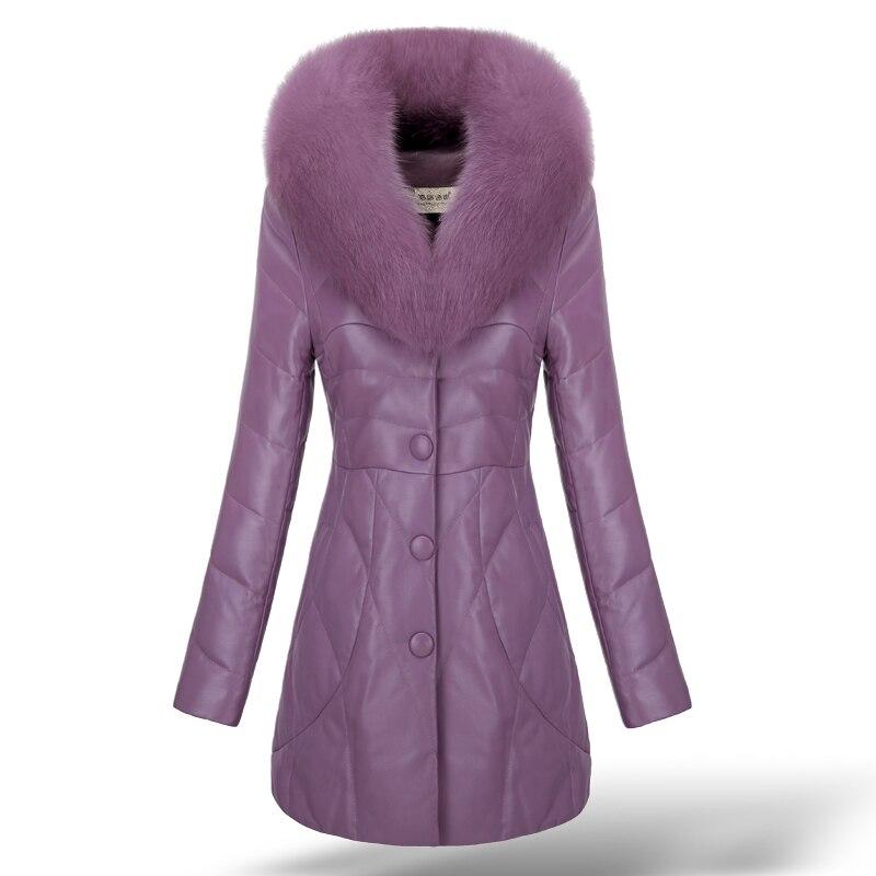 Véritable véritable peau de mouton en cuir daim vers le bas Parkas manteau veste renard fourrure col hiver femmes fourrure manteaux pour vêtements de dessus 3XL VK2015
