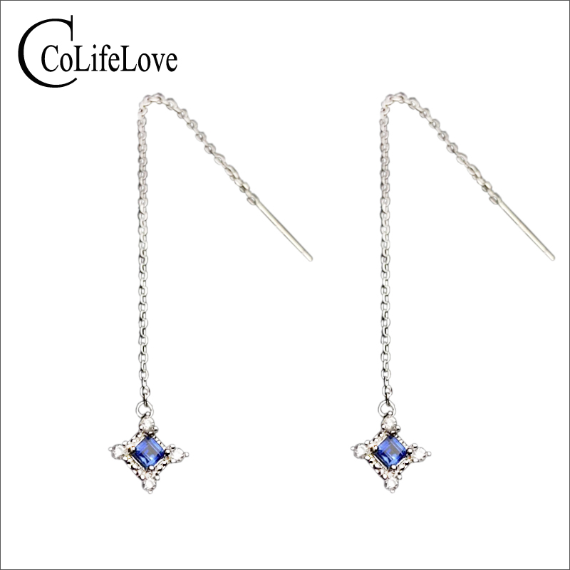Fashion long drop earrings with sapphire 2.8 mm natural light blue sapphire earrings for party solid 925 silver sapphire jewelryFashion long drop earrings with sapphire 2.8 mm natural light blue sapphire earrings for party solid 925 silver sapphire jewelry