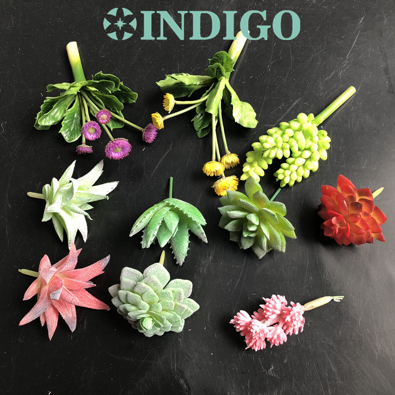 INDIGO-Mini Succulent Plant Artificial Plastic Flower Office Table Decoration Green Plant Background Free Shipping